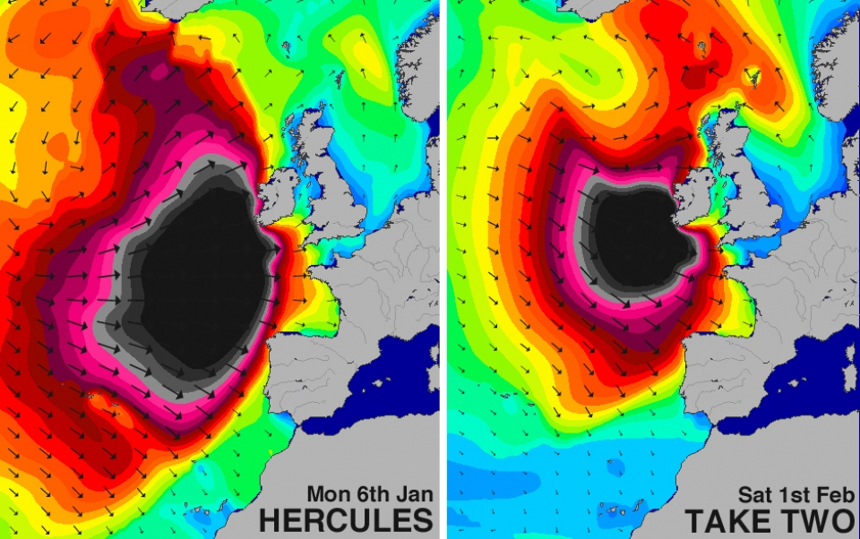 While the swell charts for both storms show a similar sized centre with waves in the 50ft+ range this chart comparing our estimated breaking wave heights (combining swell size AND period) shows the true story of relative power, particularly as you head further south.