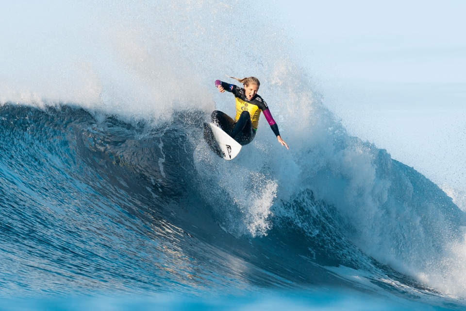 "Steph Gilmore fell to Wright in the semis, but remains just 3500 points behind Moore on the World Tour rankings. ""It was a difficult Heat."