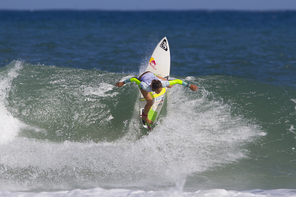"""The punchy lefts of the latter rounds were perfectly suited to Sally Fitzgibbon's stinging backhand.     """"A lot of hard work went into this victory and I'm so happy,"""" said Sally Fitzgibbons. """"There's a great rivalry between myself and Carissa (Moore). We always have such great battles and I knew I had to step things up after the Semifinal to take the win. I'm really excited to get over to Fiji and try and get another result like this."""""""