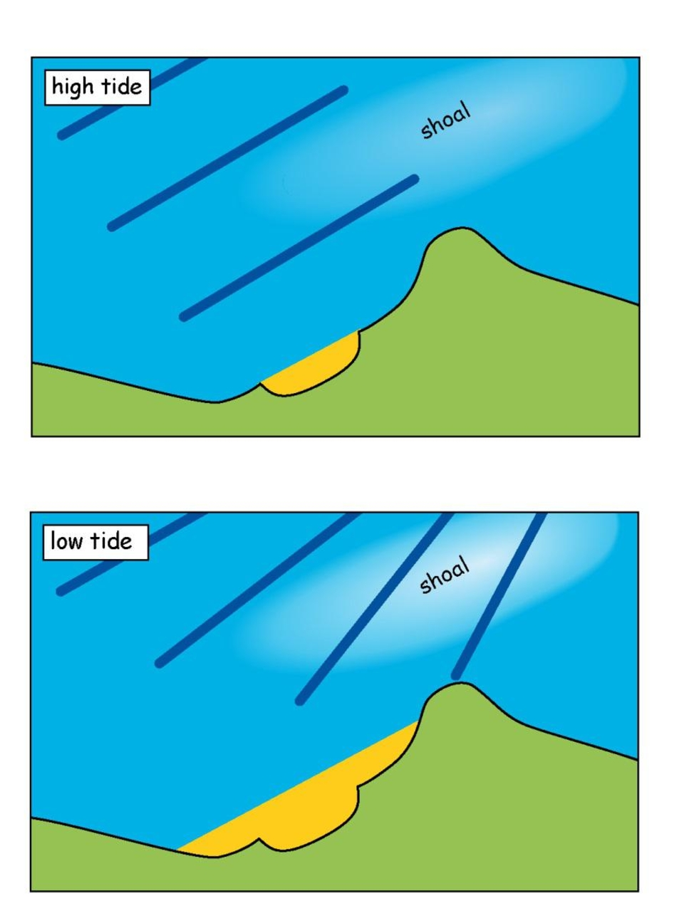 An offshore shoal in the right place could bend the waves away from a beach at low tide, making them bigger at high tide.