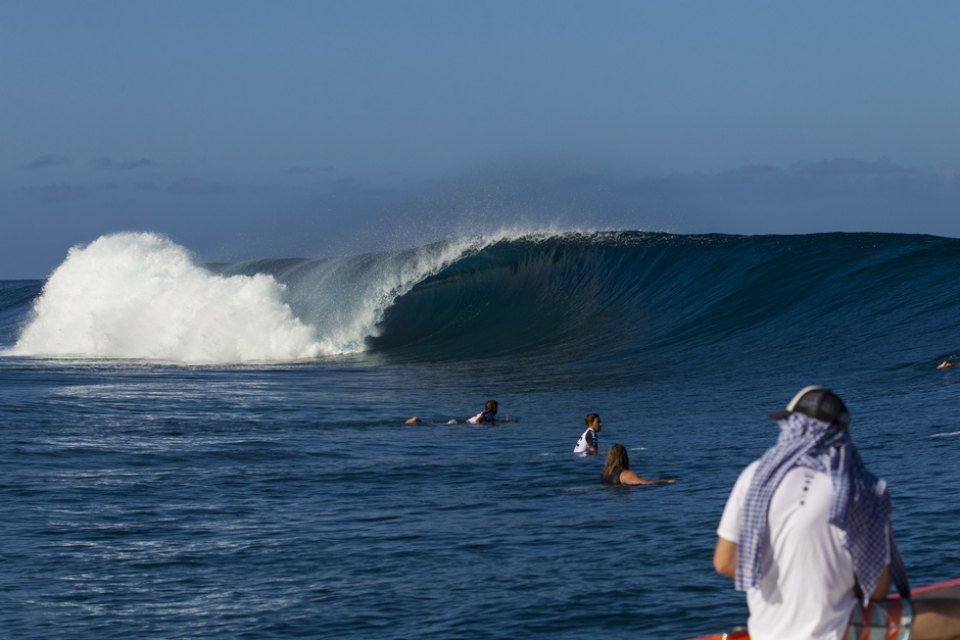 What a lineup Teahupoo presents on a small day. Dorian calls it a perfect intermediate wave, one step up from a CostCo soft top.
