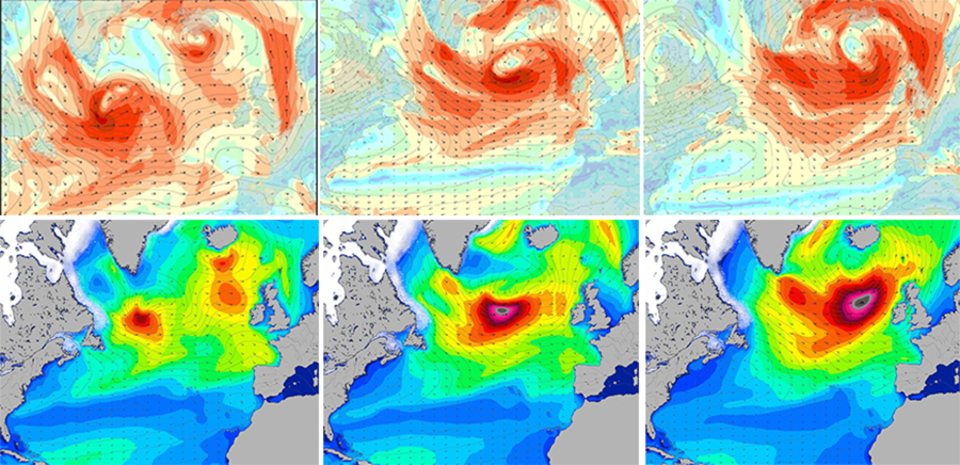 Wind charts (top) and swell charts (bottom), at 12-hour intervals for later on this week: The dark red blob on the wind charts shows the main fetch, with winds around force 9, which moves in a straight line across the North Atlantic. Even though the area of force-9 winds never exceeds about 800 km long, the swell generated corresponds to an area of force-9 winds extending well over 2000 km.