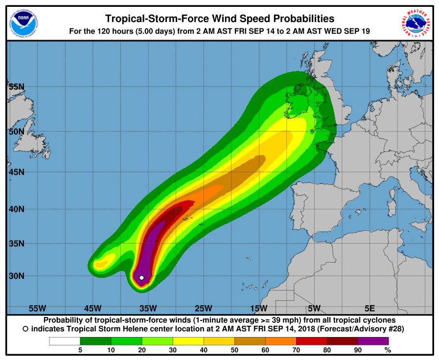 After weeks of drought from any significant swell, September rolls in and Helene's come a-knocking. You can see her current trajectory here with Ireland firmly in the cross-hairs.