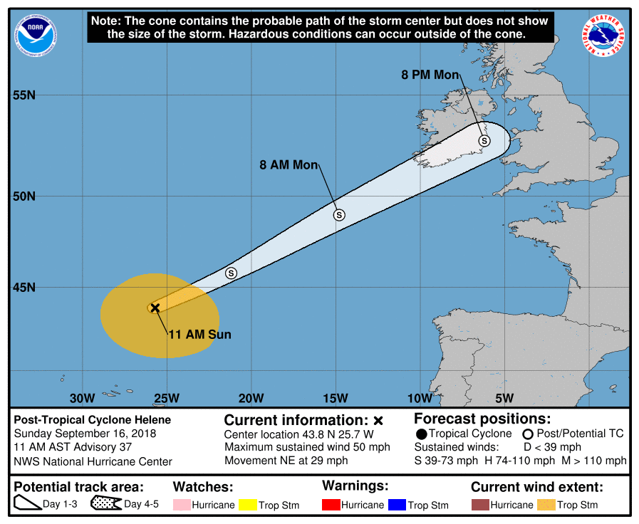 Helene is still on track to blast Ireland.