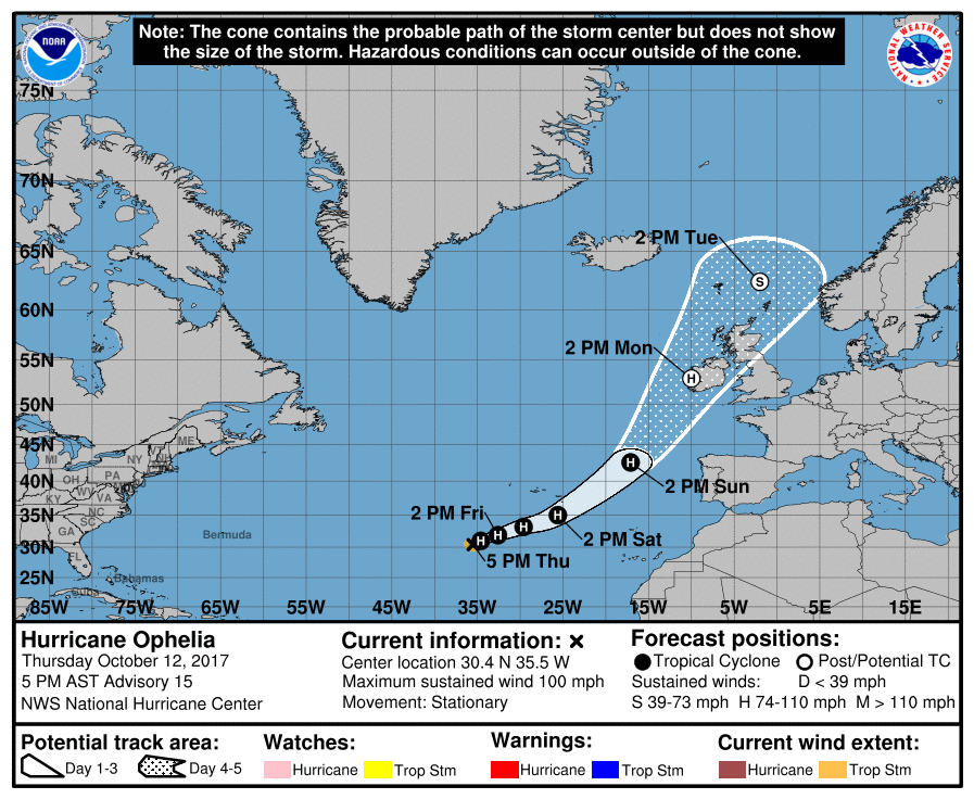 The route Ophelia took last year.