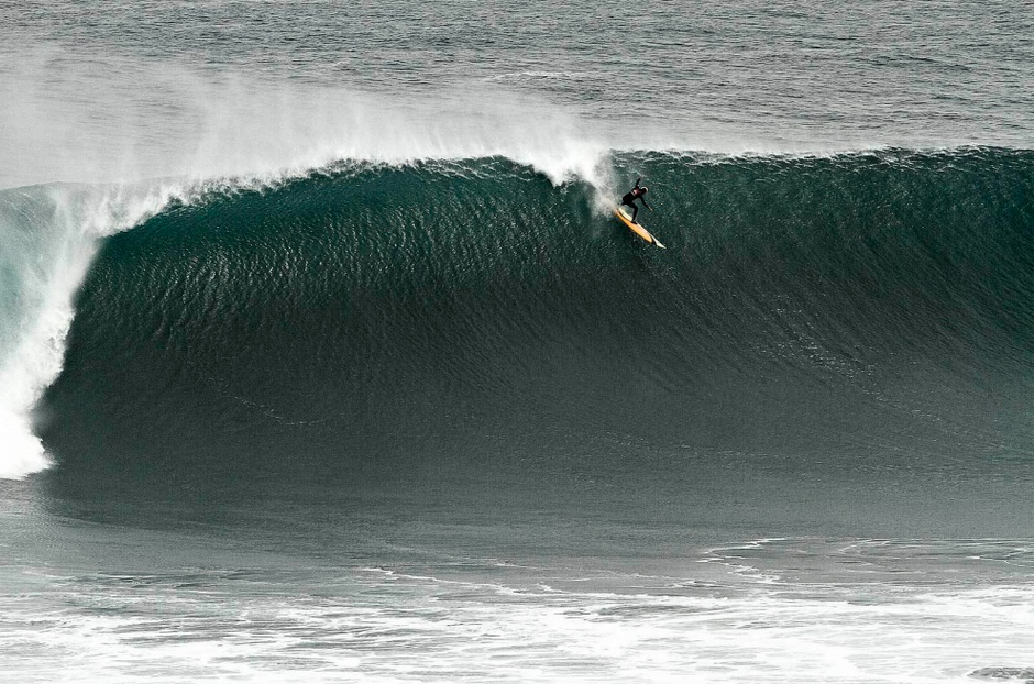 South African, Frank Solomon, on a huge, but perfect wave at the Quiksilver Ceremonial Punta de Lobos, Chile.