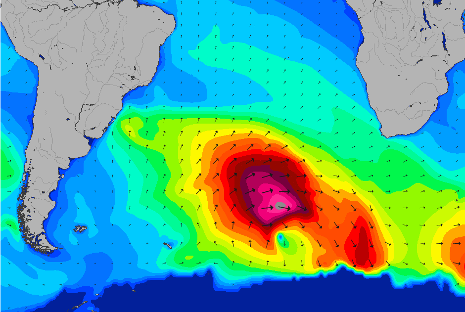 This swell came from a massive storm which crossed the South Atlantic during the weekend.
