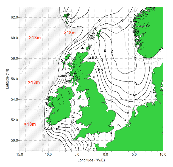 This chart shows the size (in meters) of waves you'd expect to see at least once every 100 years, derived from wave buoy and satellite data. From this chart you can see that Western Cornwall could reasonably expect swell to 15m/50ft at least once in a century. Well in excess of the latest forecast for tomorrow.