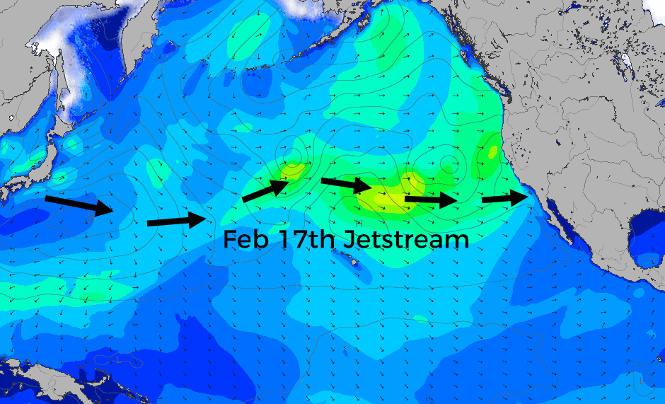 The Jetstream once again directing storms south of their more typical track and bringing rain and wind to Southern California