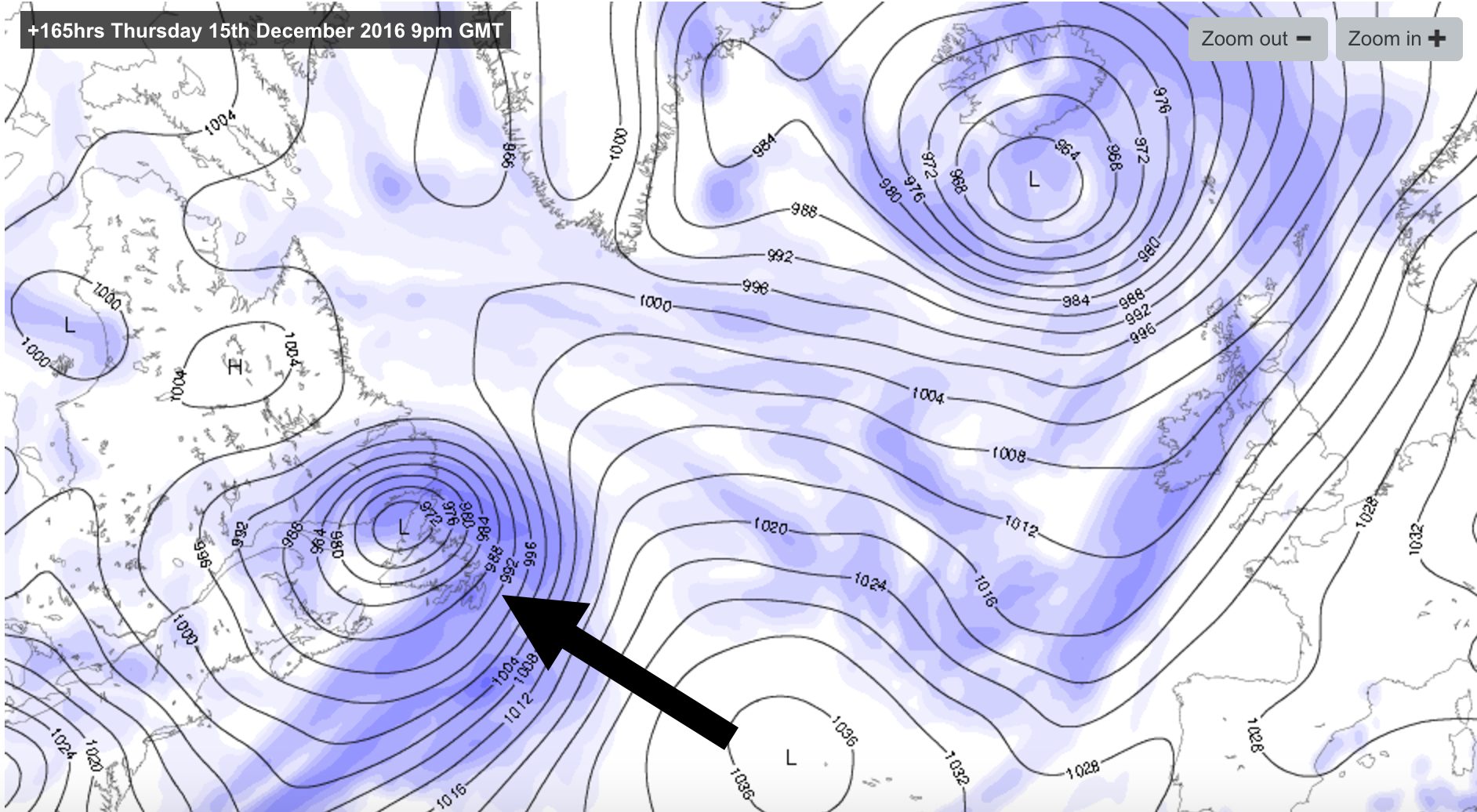 The initial low pressure system over Canada