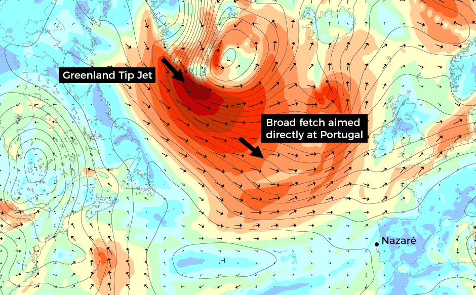 The perfect storm? If the chart held like this, but the reality is that fetch looks likely to extend closer to the coast as we enter next week. Exactly how far will dictate the outcome on the beach.