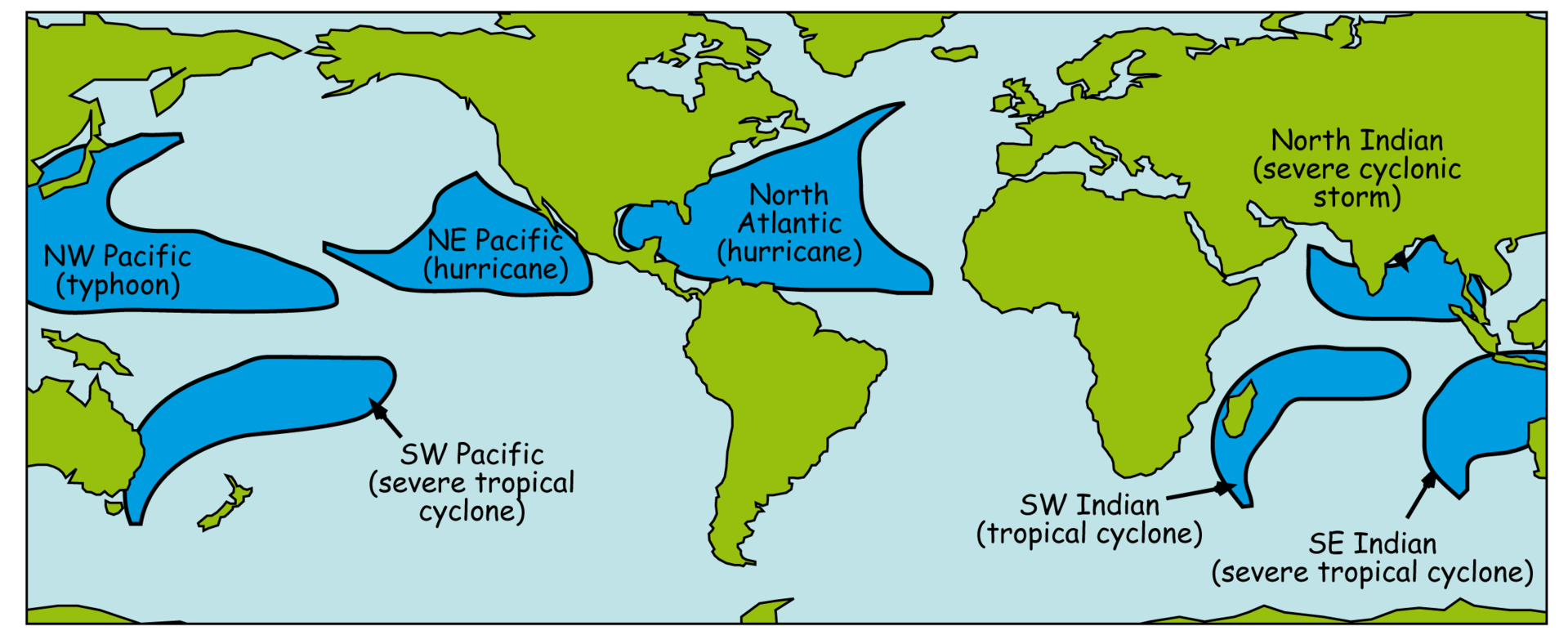 The principle areas where tropical cyclones are found, with the synonym for each area.