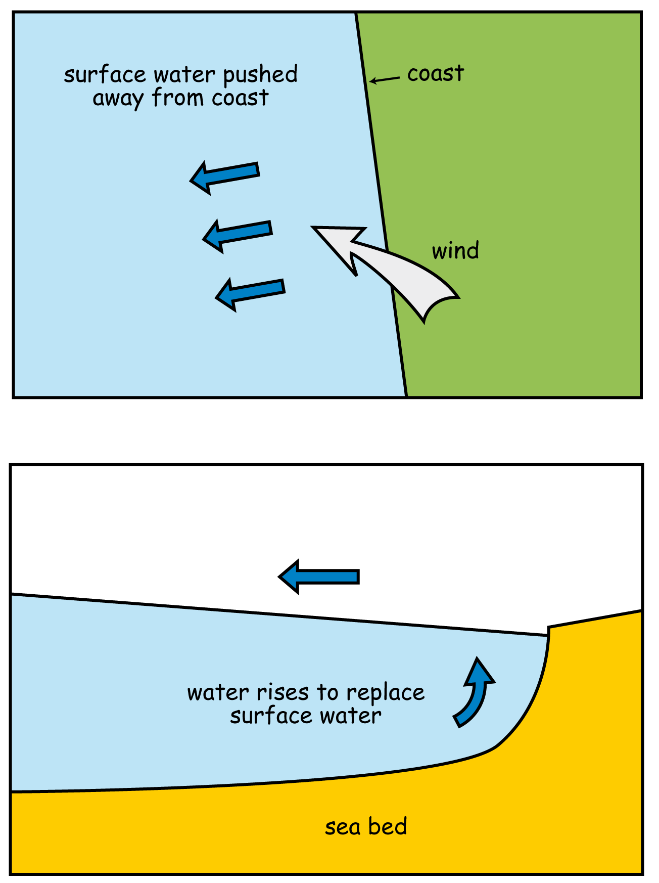 Coastal upwelling is the continual rising up of cold water from underneath to replace the warm surface water while the surface water is being pushed away from the coast by the wind.