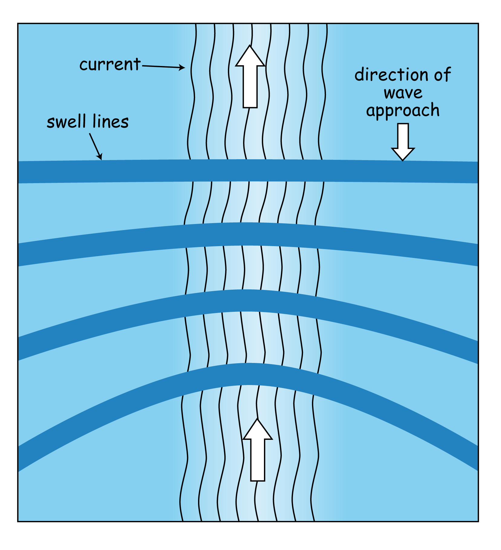 Wave-current interaction: the current makes the waves focus into the middle, plus it also pushes them closer together, both of which increase the wave height.